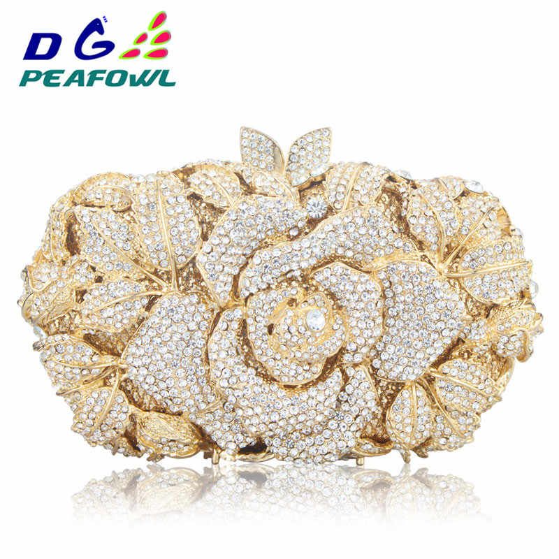 Luxury Hollow Out Crystal Floral Diamond Evening Clutch Bag Champagne Evening  Bag Party Wedding Purse Soiree 528a6534606a