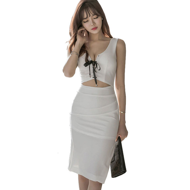 Night Club Dresses Women Sexy Fake Two-Piece Separates Designer lace up  Bandage front Exposed 1c0452886650