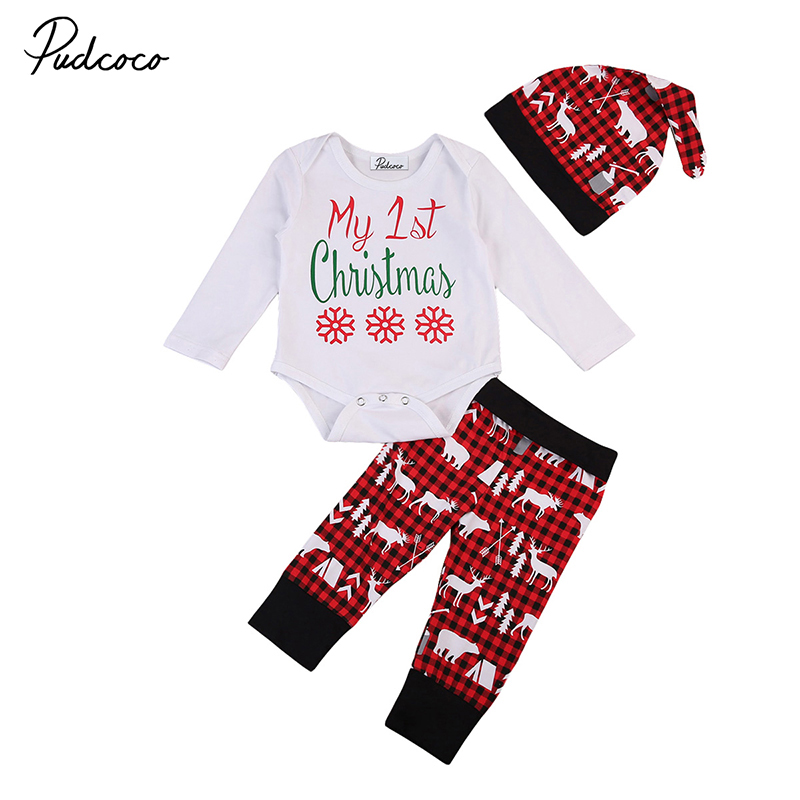 My First Christmas Newborn Baby Boy Girl Clothes Long Sleeve Romper Tops+ Reindeer Print Pant Hat 3PCS Toddler Kids Clothing Set 2017 hot newborn infant baby boy girl clothes love heart bodysuit romper pant hat 3pcs outfit autumn suit clothing set