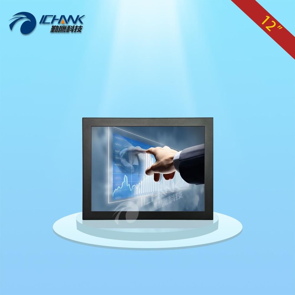 B120TC-DUV2/12 inch 1024x768 4:3 DVI VGA USB HD Wall-mounted metal case industrial resistance touch monitor LCD screen display
