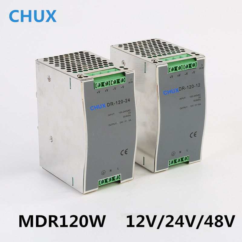 купить Din Rail Switching Power Supply 120W 12v 24v 48v DC AC DR120W Single Output LED Driver SMPS Switch Transformer недорого