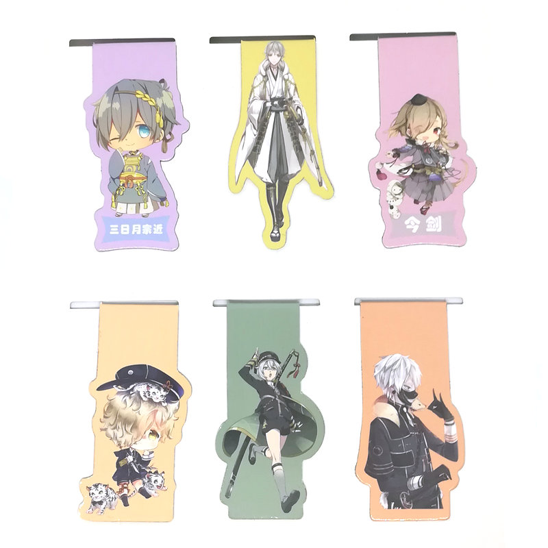 6pcs Touken Ranbu Online Anime Magnetic Bookmark Cartoon Magnet Bookmark Child Student Kawaii Gift Bookmarks Office Stationery