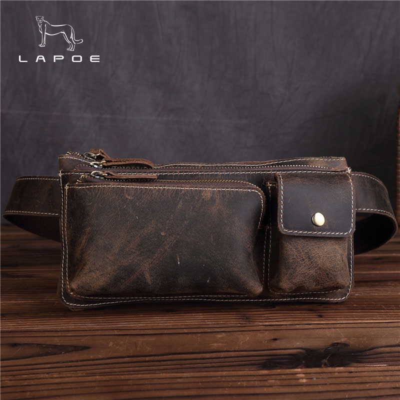 LAPOE Crazy Horse leather Waist Packs Fanny Pack Belt Bag Phone Pouch Bags Travel Waist Pack Male Small Waist Bag Leather Pouch