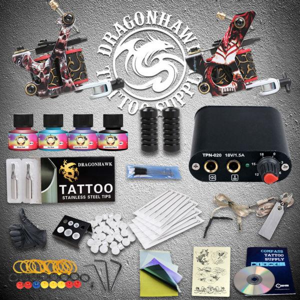 Complete Beginner Tattoo Kit Inks Needles Tattoo Machine Guns Tattoo Power Supplies beginner tattoo kit 1 machine gun 4 inks needles tattoo power supply d1025gd 2