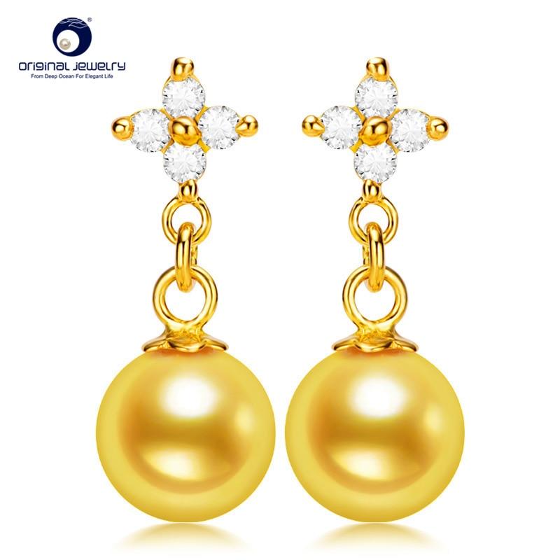 [YS] Flower Pearl Earrings Silver Earrings Gold Cultured Akoya Pearl Earrings artificial pearl rhinestoned floral earrings