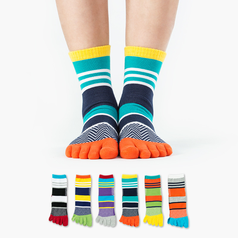 Men colorful stripe socks fashion new cotton five fingers toe socks Color mosaic Deodorant business casual Europe wild socks