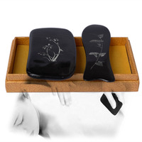 New Ox Horn Engraved Designs Beauty Massage Guasha Tool 1pcs Thicken Square Plate 1pcs Fish 2pcs
