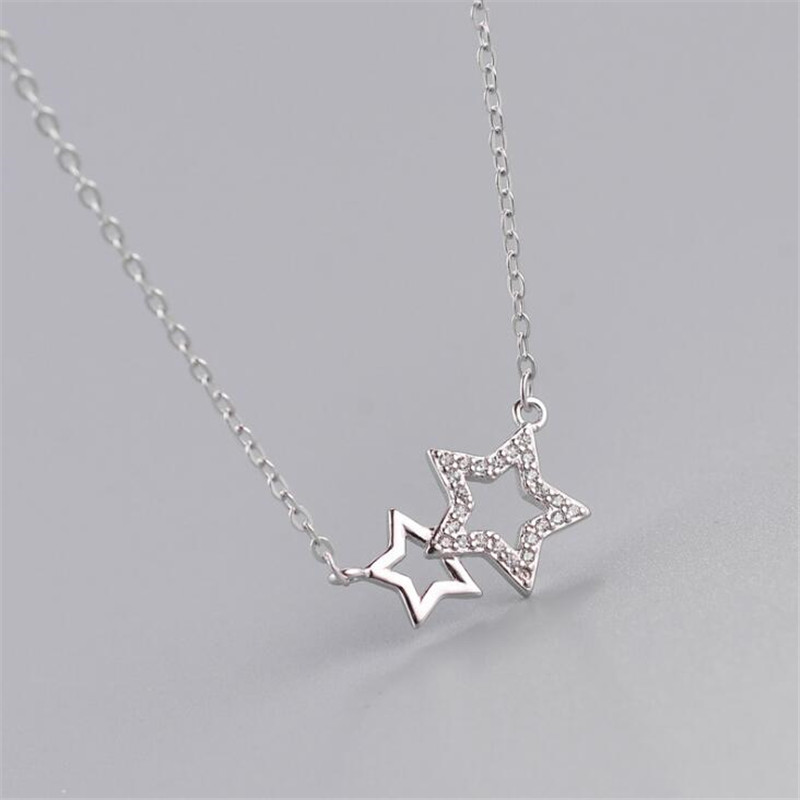 925 Sterling Silver Wedding Jewelry Classic Unice Stars Rhinestones Choker Necklaces For Women Collares Stranger Things N290