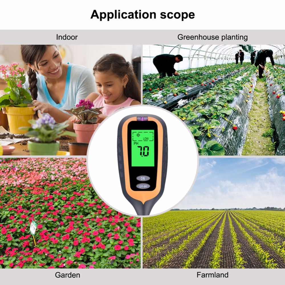 yieryi New 4 IN 1 Digital Soil Moisture Meter PH Meter Temperature Sunlight Tester for Garden Farm Lawn Plant with LCD Displayer