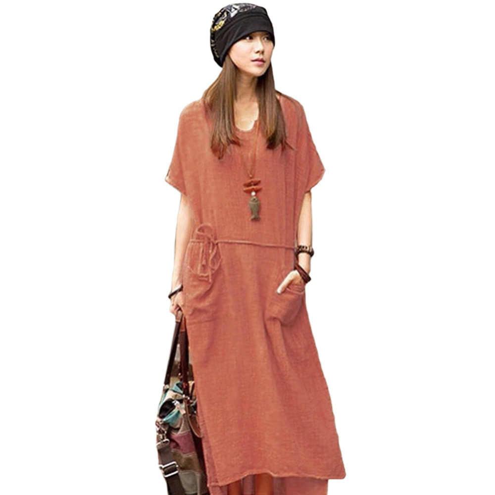 32763b4191de415 Более Размеры d летнее платье Для женщин ретро Повседневное Свободные длинное  платье одноцветное короткий рукав ботильоны
