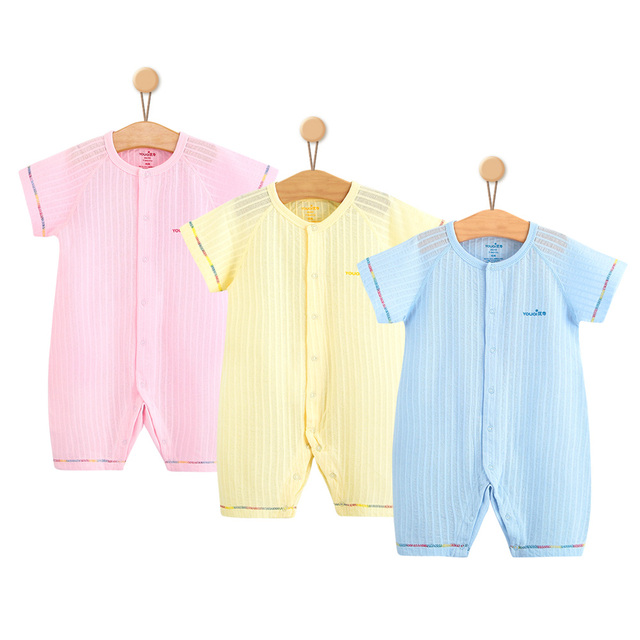 f826b0ccaba0 3Pcs Baby Girls Clothes Summer Baby Boys Rompers Short Sleeve Cotton  Costumes Pajamas Suit 3 6 9 Months Infant Jumpsuit Clothing