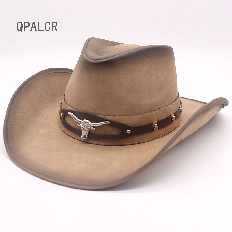 QPALCR 2018 New Brand Leather Western Cowboy Hats Men Women Vintage Visor Hat Travel Performance Punk Cowgirl Cap new 2015 cowgirl