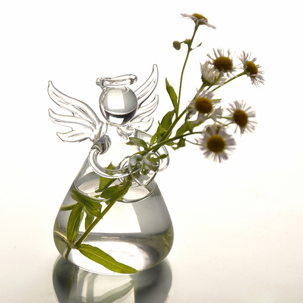Hot Cute Clear Glass Angel Shape Flower Plant Stand Hanging Vase Hydroponic Home Office Wedding Decor 2