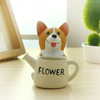 Multiple Styles Cute Tabletop Dog Design Resin Pot Planter For Garden Flower Succulent Cactus Herbs Plant