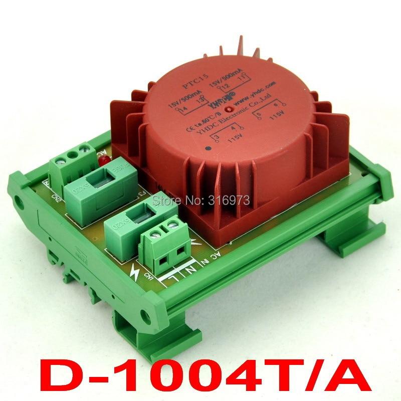 P 115VAC, S 15VAC, 15VA DIN Rail Mount Toroidal Power Transformer Module.