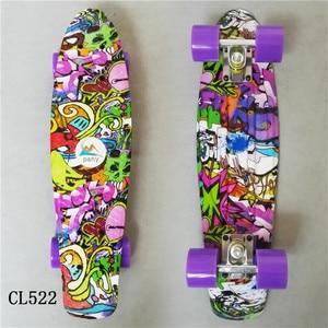 Image 3 - 22 pulgadas de largo Skate Board hermosa patrón Skate tabla larga Penny junta de Patins una sola balancín carga de la rueda
