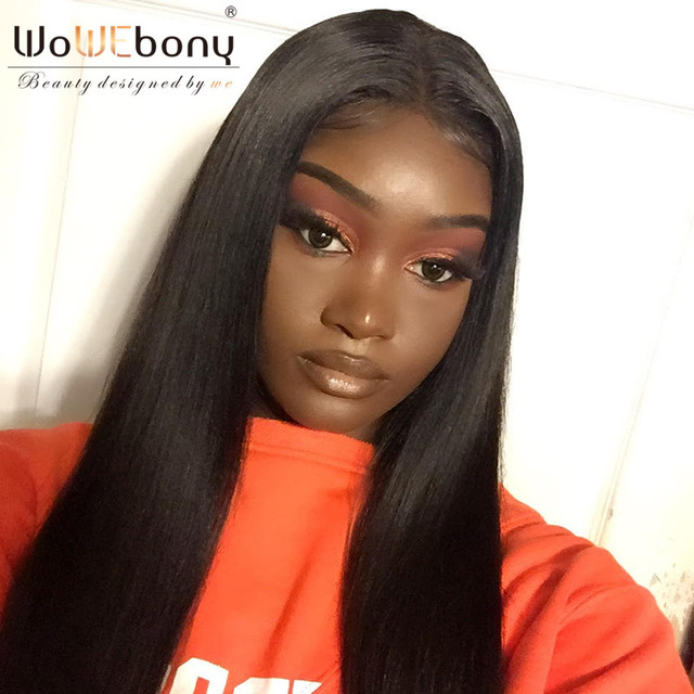 Wowebony 360 Lace Frontal Wigs Indian Remy Hair Yaki Straight Human