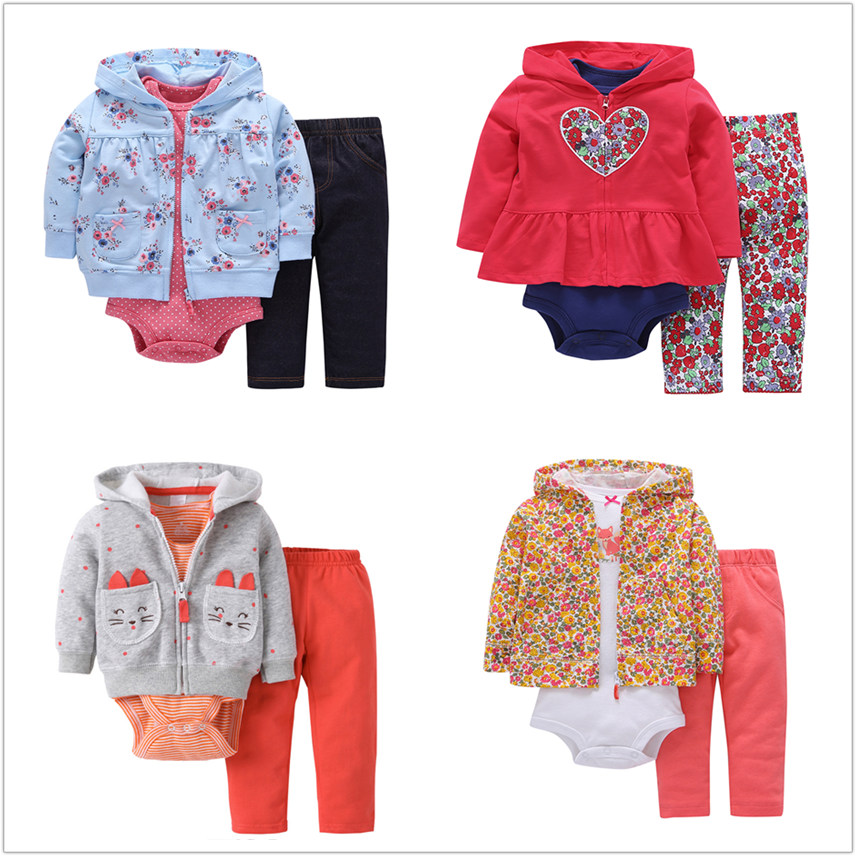 Lion Bear 3pcs/set Baby Girls Clothes Outfits Long Sleeves Bebe Dress Jumpsuit Girls Dress Baby Bodysuit Infant Baby Clothes