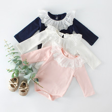 Everweekend Sweet Baby Girls Cotton Rompers Flower Lace Neckline Candy Pink White Blue Color Toddler Infant Kids Clothes