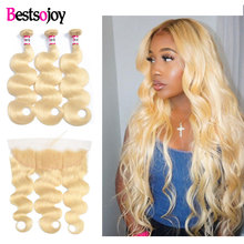 Bestsojoy 613 Blonde Bundles With Frontal Brazilian Body Wave With Frontal Blonde Human Hair Lace Frontal Closure With Bundles