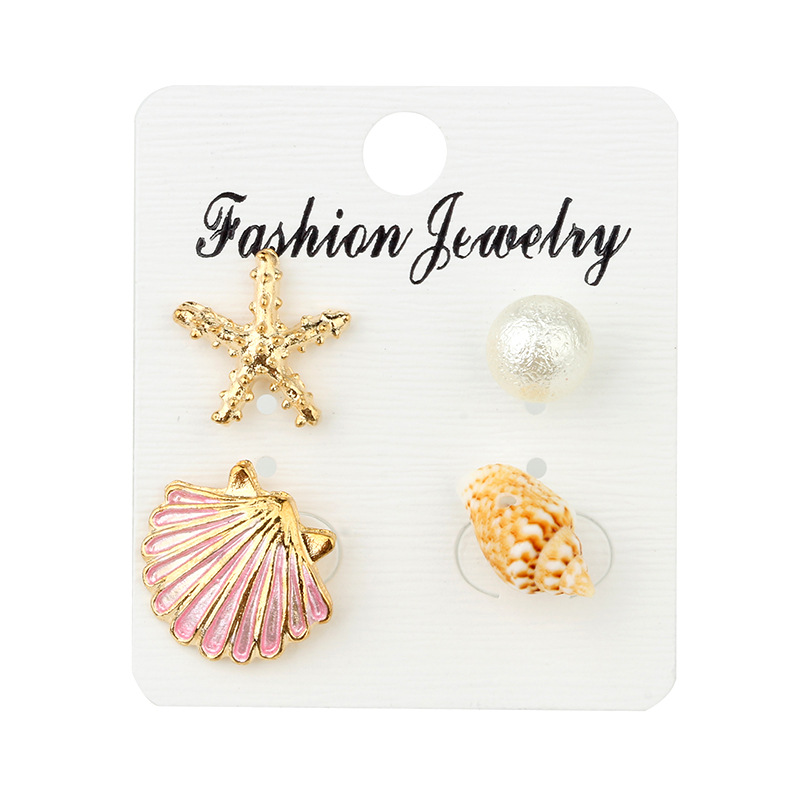 Bohemian Shell Copper Stud Earrings Without Piercing Crystal Starfish Shell Earrings For Women Cерьги Jewelry Wholesale in Stud Earrings from Jewelry Accessories