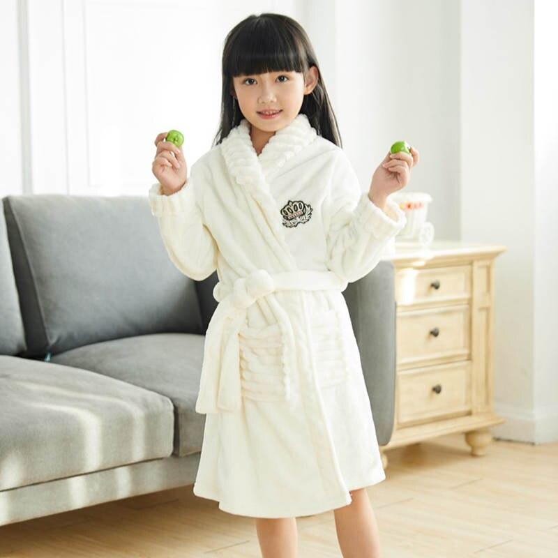 2019 Mode 2018 Mode Winter Kinder Bademäntel Kleinkind Kinder Jungen Pyjamas Einfarbig Flanell Nachtwäsche Verdicken Warme Robe Mädchen 3-13yrs