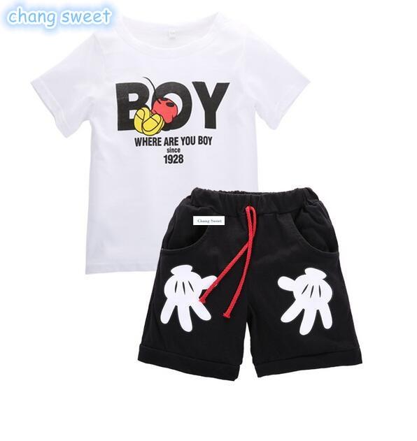 2019 ropa de verano para niños y niñas conjuntos de dibujos animados de bebé de dos piezas de camisa de manga corta + Linda pantalones cortos