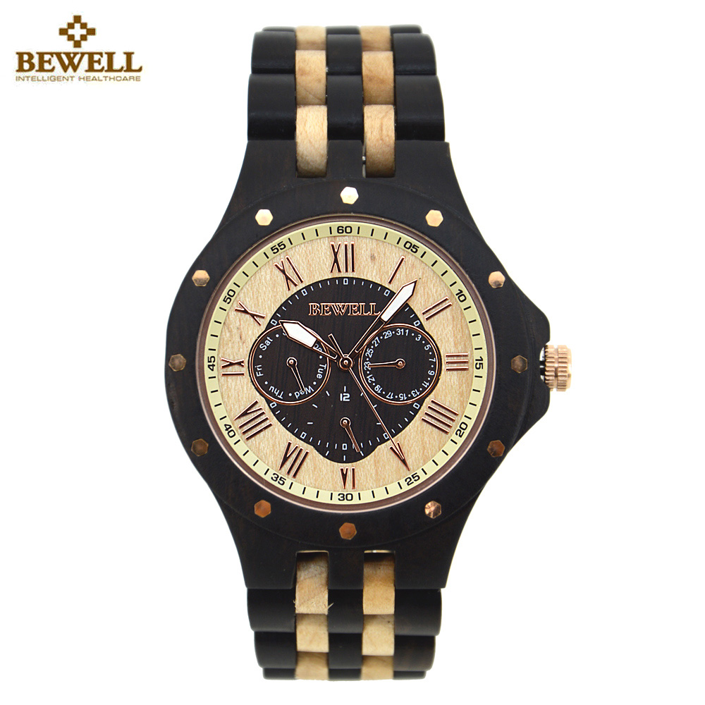 BEWELL Wooden Watch for Men Unique Business Design Wood Watches Men Top Luxury Quartz Watches With box saat relogio masculino ultra luxury 2 3 5 modes german motor watch winder white color wooden black pu leater inside automatic watch winder