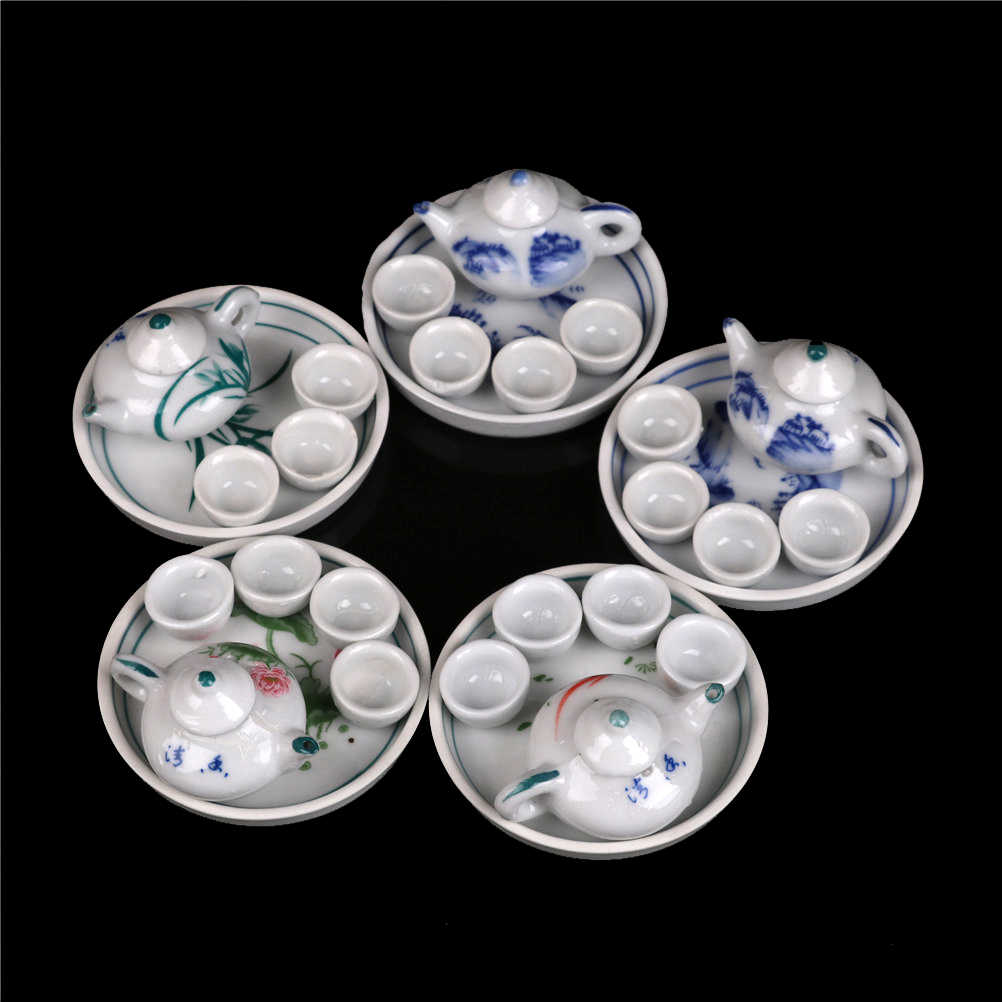 6pcs Colorful floral print Dollhouse dinnerware porcelain tea set tableware Cup plate Miniature