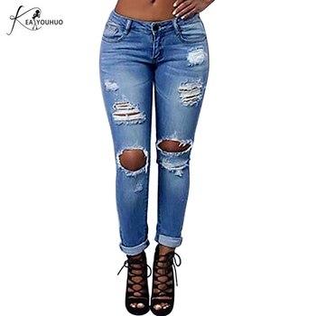 bbbefe6800 2018 moda verano skinny mom Vaqueros Mujer Denim agujeros Ladies Vaqueros  Delgado novio ripped Vaqueros para las mujeres Pantalones lápiz Pantalones
