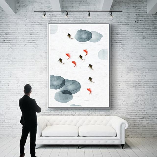 Chinesische Tinte Fisch Malerei HD Drucke Auf Leinwand Wand Kunst  Wohnkultur Wohnzimmer Abstrakte Malerei Bild