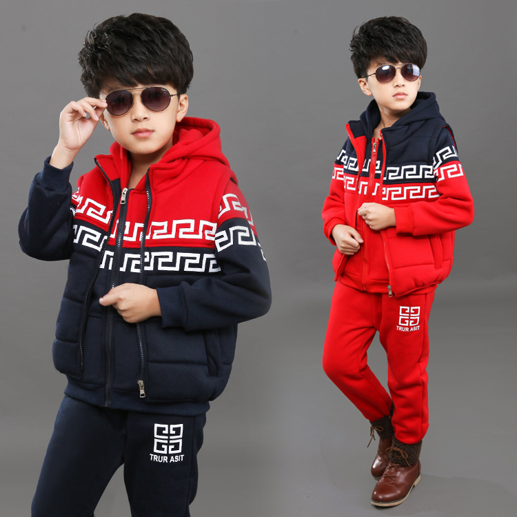 Free shipping New arrival winter fashion boy clothing set 100% cotton boy three pieces suit sweater+pants+vest children clothing