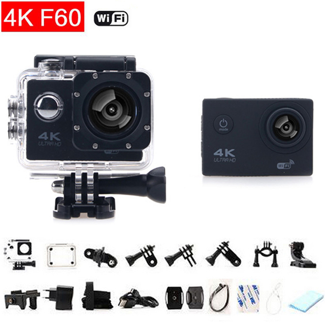 gopro hero 4 style Sport  Camera Wifi F60 action cam Ultra 4K HD 16Mp 170 degrees Wide Angle waterproof mini action Camera