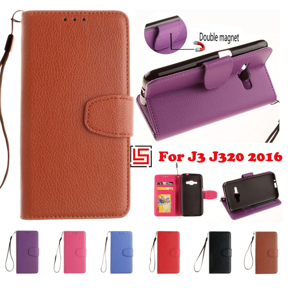 Luxury Retro PU Leather Lether Flip Wallet Phone Cell Case Cover Cove Bag For Samsung <font><b>Samsug</b></font> Galaxy Galaxi <font><b>J3</b></font> <font><b>2016</b></font> J 3 Black image