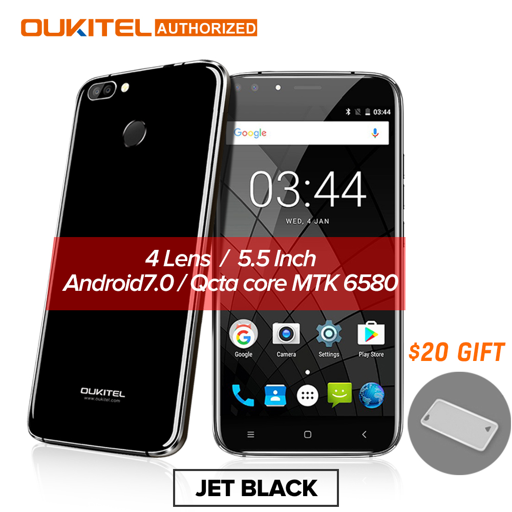 Oukitel U22 Smartphone 3G 5,5 ''Android 7,0 2700 mAh MTK6580 Quad Core cuatro Cámara 8.0MP + 5MP 2 GB + 16 GB Fingerprint móvil
