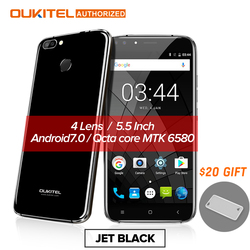 Oukitel U22 Smartphone 3G 5.5'' Android 7.0 2700mAh MTK6580 Quad Core Four Camera 8.0MP+5MP 2GB + 16GB Fingerprint Cellphone