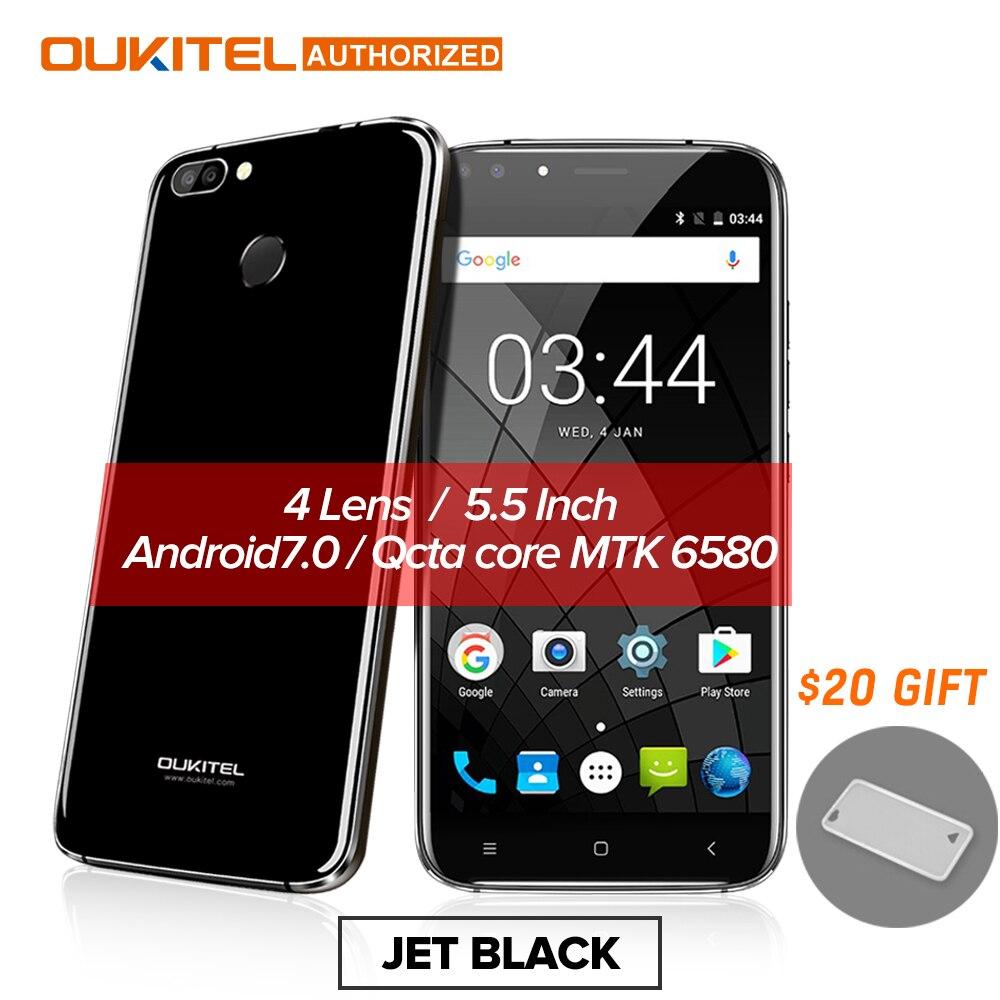 Oukitel U22 Smartphone 3g 5.5 ''Android 7.0 2700 mah MTK6580 Quad Core A Quattro Macchina Fotografica 8.0MP + 5MP 2 gb + 16 gb di Impronte Digitali Cellulare