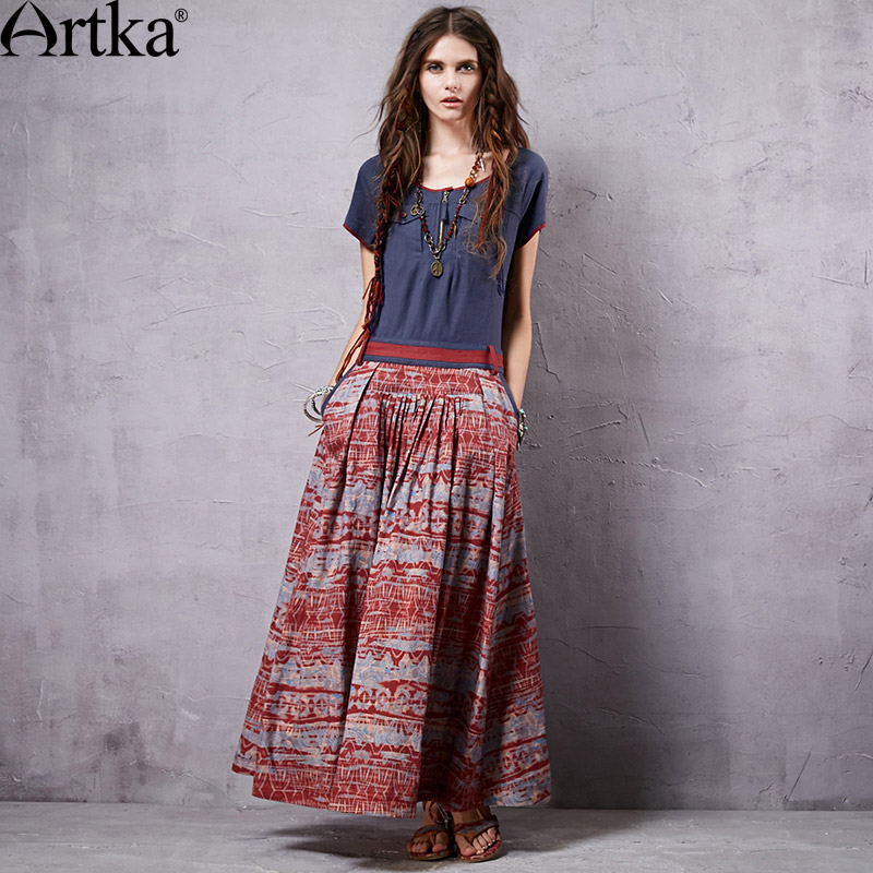 ARTKA Women s Summer New Provins Vintage Patchwork Elegant Dress O Neck Cotton One piece Slim