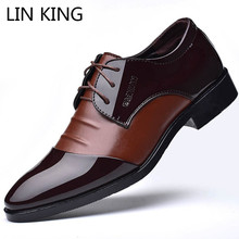 LIN KING Fashion Pointed Toe Men Formal Shoes Shallow Mouth Lace Up Oxfords Shoes Men's Wedding Party Dress Shoes Plus Size 48 все цены