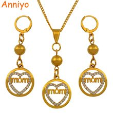 Anniyo Mother Best Gift Necklace Earrings Jewelry Sets With Beads and Rhinestone Ball Jewellery Mother's Birthday Gifts #124506(China)
