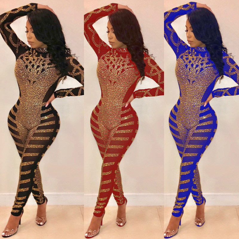 New Arrival Rompers Womens Jumpsuit Sexy Gauze Sequin Long Sleeve Clubwear Bodysuit Overalls Bodycon Plus Size Fashion