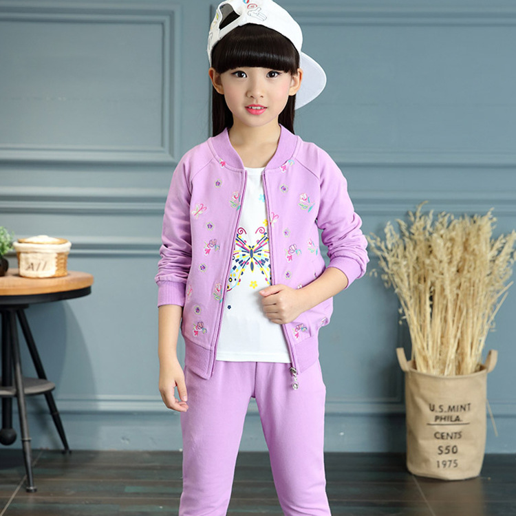 Enfants vêtements 2019 nouveau printemps automne à manches longues mouvement costume pour enfants coton impression manteau + pantalon + t-shirt bébé fille vêtements