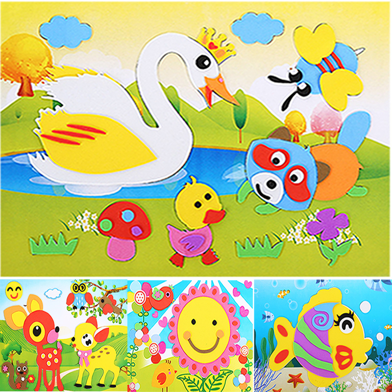10PCS/Lot 3D Eva Stickers DIY Handmade Foam Puzzle Self-adhesive Crafts Toy Children Learning & Education Toys For Kids