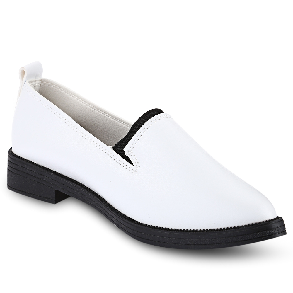 New 2017 Classic Black and White Women Casual Shoes Spring Autumn Women Flats Fashion Pointed Toe PU Leather Shoes Woman enmayer spring autumn white red black spring summer autumn fashion new men s women casual shoes flats shoes free shipping