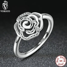 Shimmering Delicate Rose Flower Ring with Clear CZ Original 100% 925 Sterling Silver Compatible with VRC Jewelry A7138