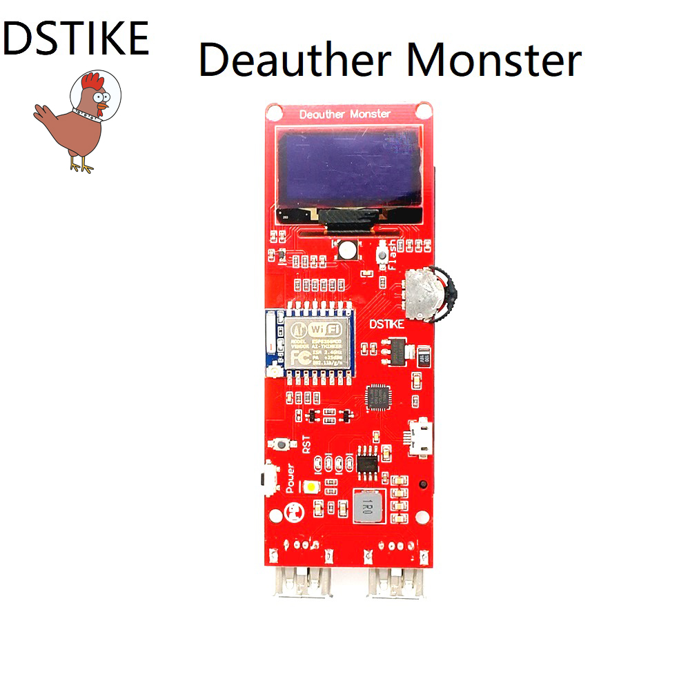 все цены на DSTIKE WiFi Deauther Monster ESP8266 1.3OLED 8dB Antenna 18650 power bank 2A quick charging 2USB 2.8A output no PB WiFi Attack
