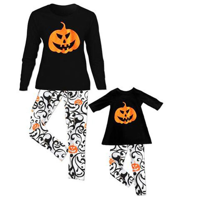 2018 kids adult family matching halloween pajamas sleepwear nightwear pyjamas cute pumpkin print long sleeve tops