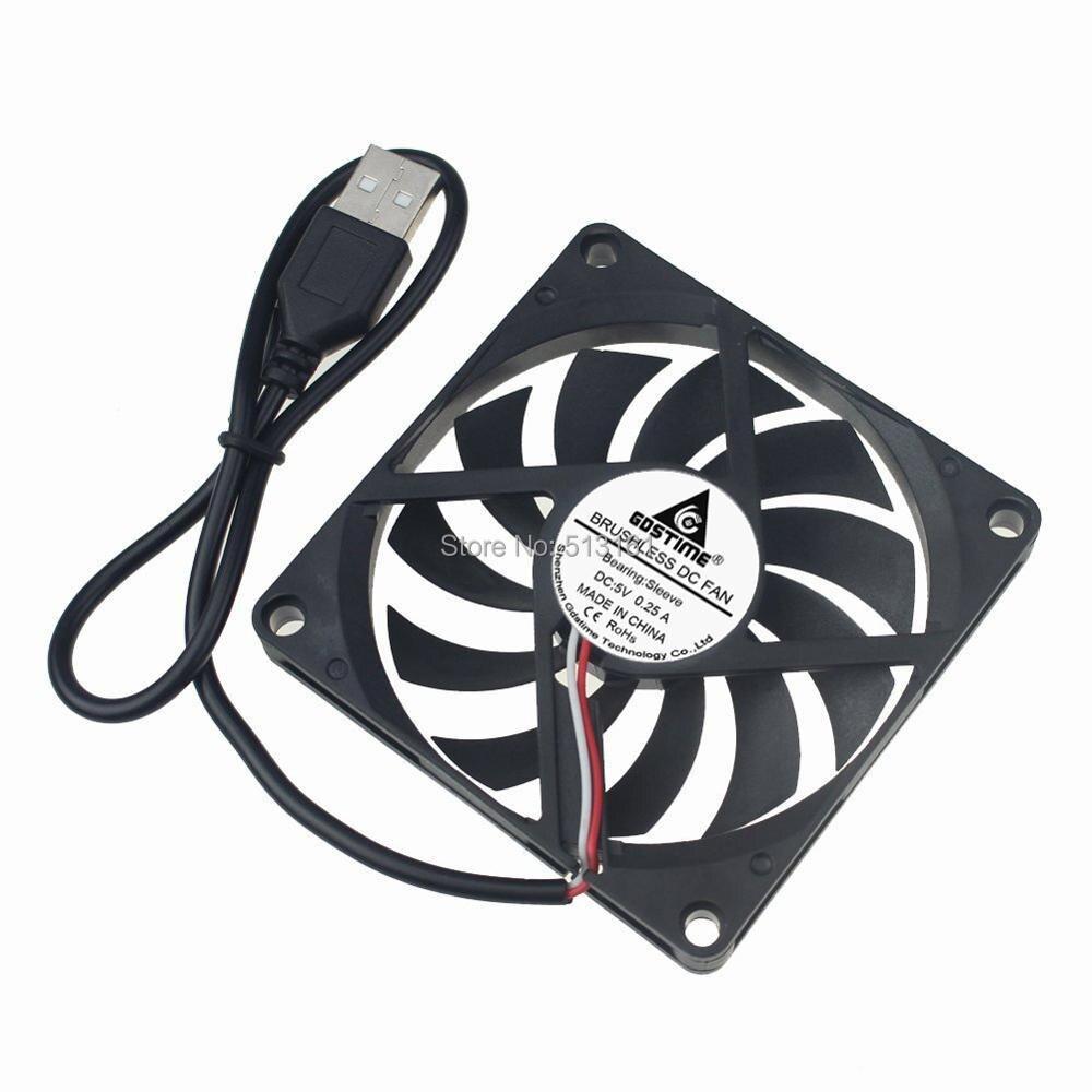 Gdstime 80MM 5V USB 80x80x10mm 8cm 8010 Brushless DC Cooling Cooler PC CPU Computer Case Fan