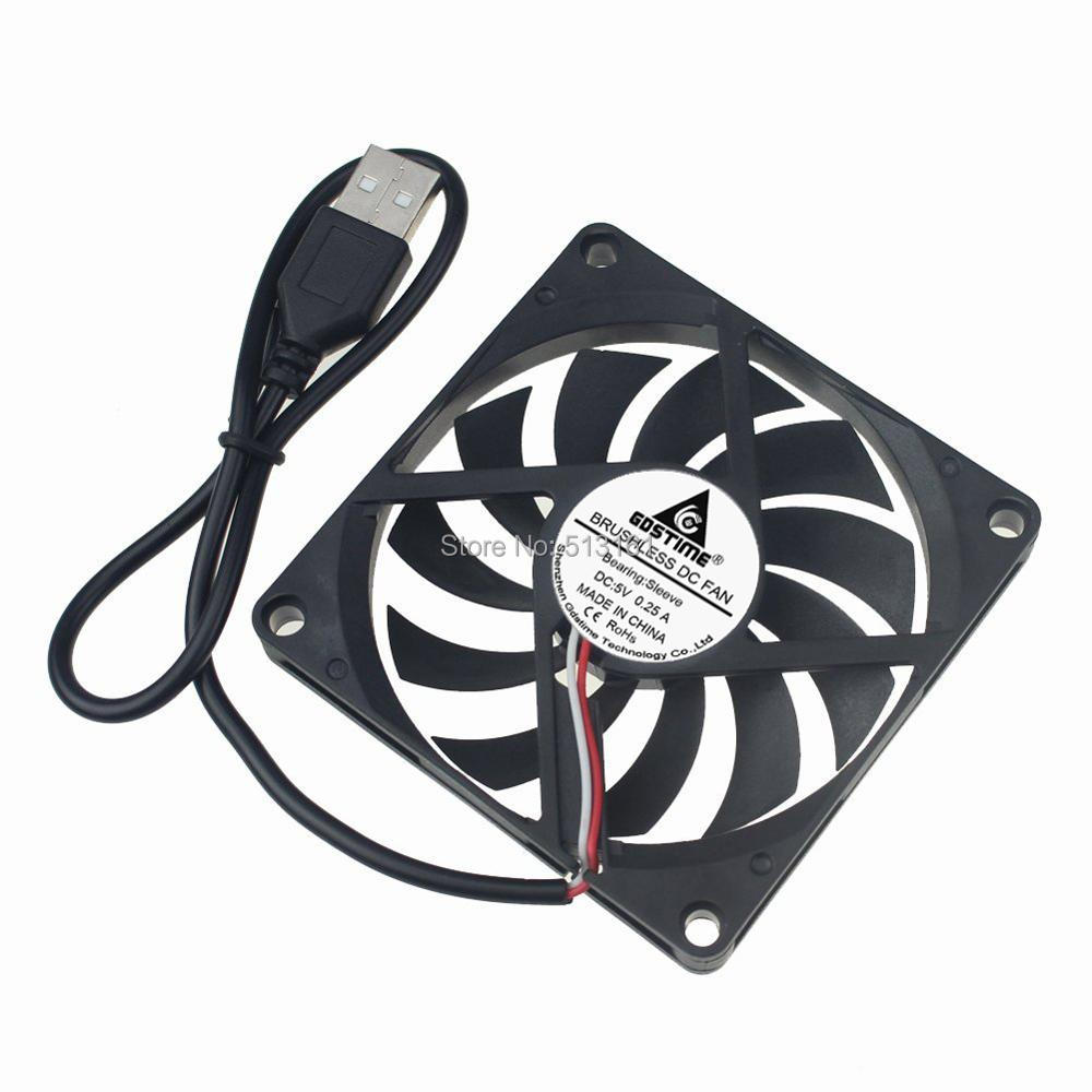 Gdstime 80MM 5V USB Fan 80x80x10mm 8cm 8010 Brushless DC Cooling Cooler PC CPU Computer Case Fan new arrival gift traction 1 18 metal model classic car vehicle toys model scale static collection alloy diecast house decoration