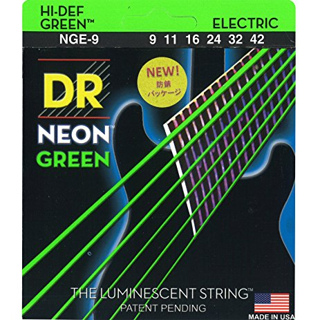 Image 3 - DR K3 Hi def Neon Green Luminescent Electric Guitar Strings, Light 09 42 or Medium 10 46electric guitar stringsguitar stringsguitar electric strings -